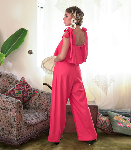 Jumpsuit - Cuiba Ribbon Tie Wide Leg Jumpsuit