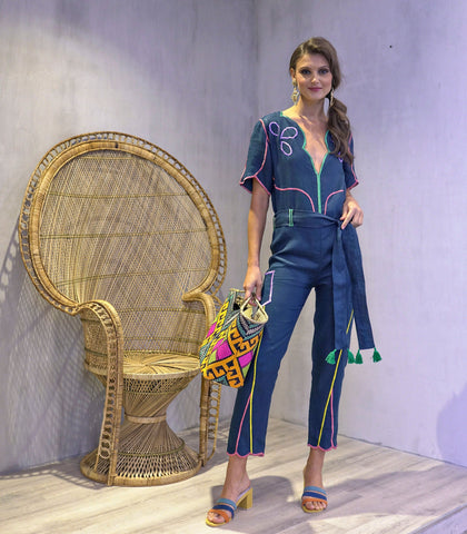 Jumpsuit - Derry Embroidered Jumsuit (Teal)