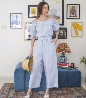 Jumpsuit - Malquetia Ruffled Off-the-Shoulder Puff Sleeve Cropped Jumpsuit