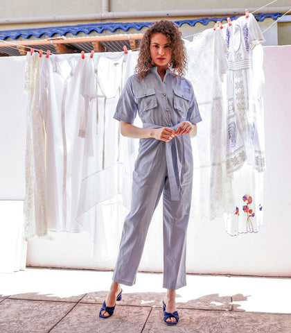Jumpsuit - Mowbray Linen Jumpsuit (Light Denim)