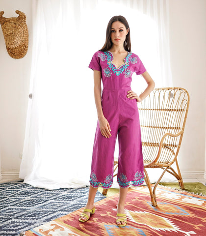 Jumpsuit - Ostrava Embroidered Jumpsuit (Orchid)