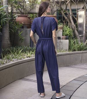 Jumpsuit - Renaico Ruched Sleeve Jumpsuit With Cutout Back