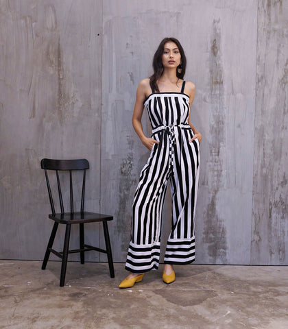 Jumpsuit - Teramo Drawstring Waist Striped Jumpsuit