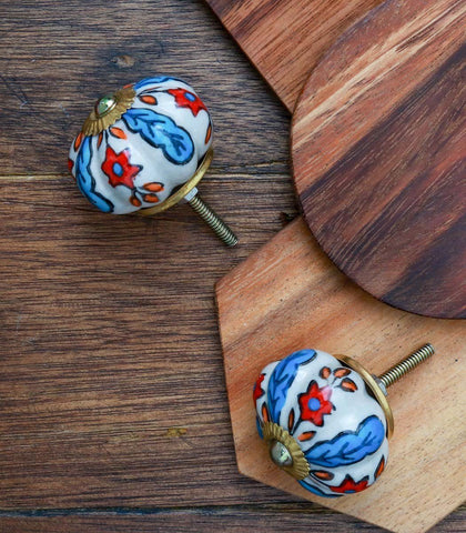 Knobs - Nobsa Handpainted Flower-Shaped Ceramic Knobs (Set Of 2)