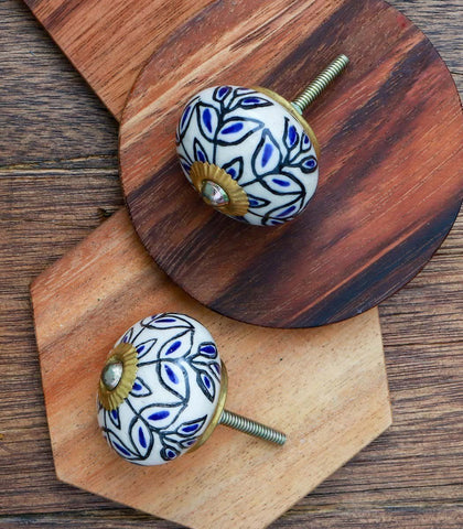 Knobs - Nobsa Handpainted Round Ceramic Knobs (Set Of 2)