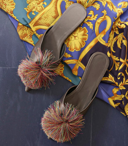 Mules - Bree Pointed Toe Mules (Pompom - 3 Variants)
