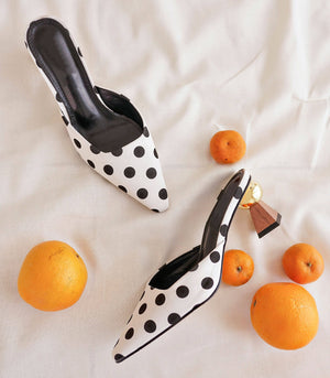 Capri Point-Toe Mules (Polka - White)