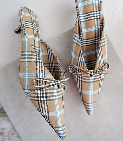 Mules - Checkered Pointed Toe Mules - Brown