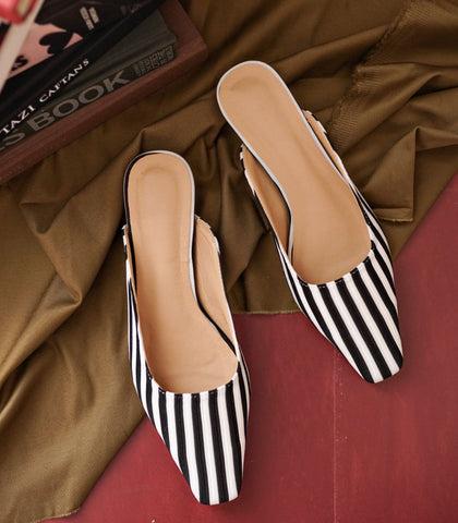 Mules - Genève Square-Toe Mules (Striped - Black)