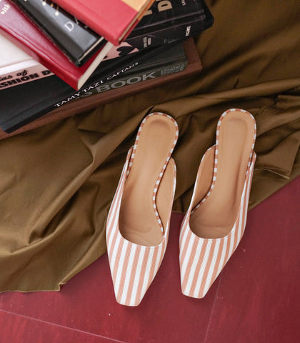 Mules - Genève Square-Toe Mules (Striped - Blush)