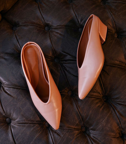 Mules - Seville Point-Toe Mules (Blush)