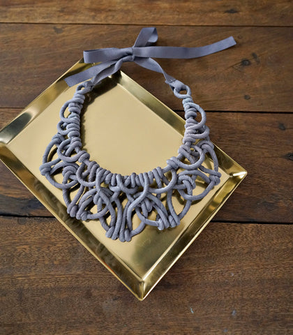 Necklace - Alexis Bib-Silver Grey