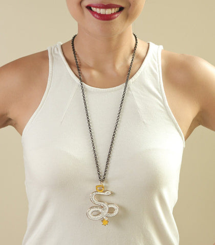 Necklace - Aztec Codex White Snake Pendant Necklace