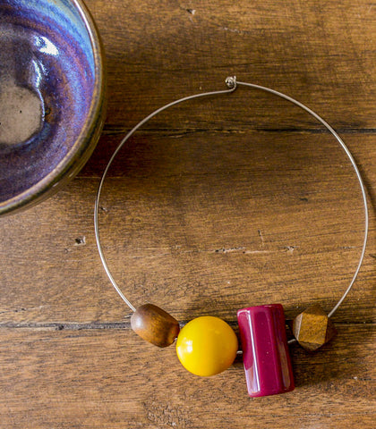 Necklace - Guacara Bold Geometric Choker With Wooden Accents
