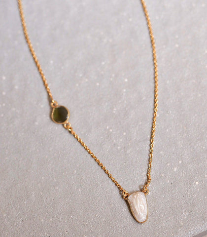 Necklace - Gwendolyn Green Tourmaline & Pearl Necklace