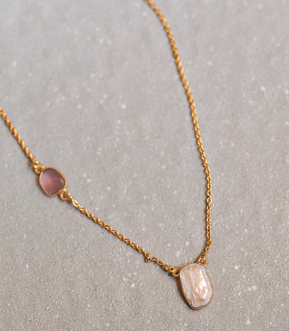 Necklace - Gwendolyn Pink Tourmaline & Pearl Necklace