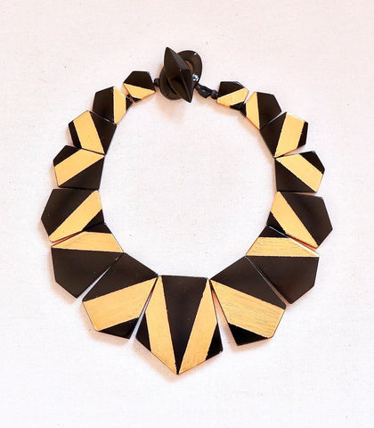 Necklace - Oni Gold Leaf & Black Resin Geometric Necklace
