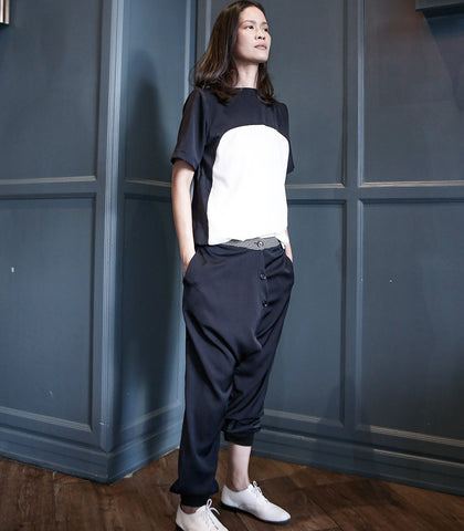 Pants - ANDROGYNE 028 | Button Down Overlap Pants