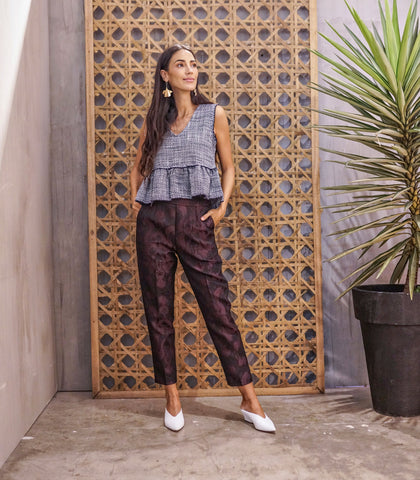 Pants - Arklow Cropped Brocade Pants (Wine)