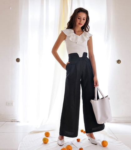 Pants - Caledon Wide Leg Linen Trousers (Black)