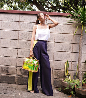 Garoua Linen Wide Leg Pants with Neon Side Stripe