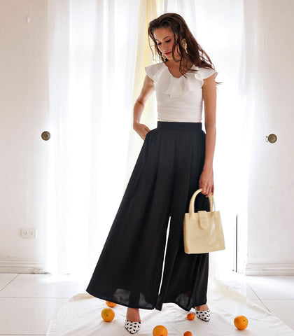 Pants - Guanabo Flowy Wide Leg Pants (Black)