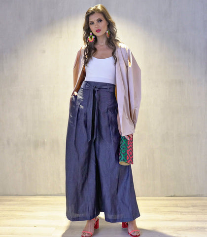Pants - Kethra Wide Leg Pants (Chambray)