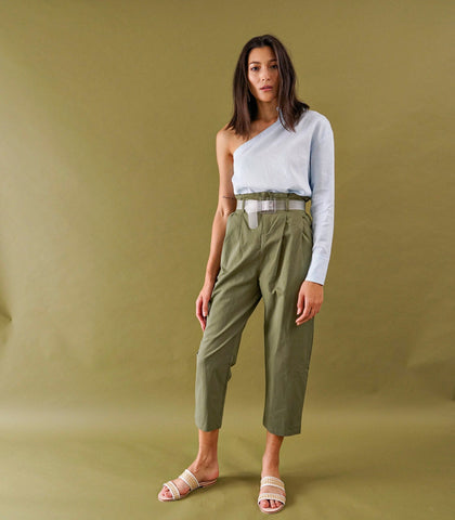 Pants - Liege Belted Cropped Trousers (Army Green)