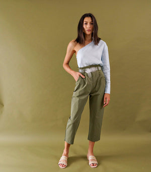 Liege Belted Cropped Trousers (Army Green)