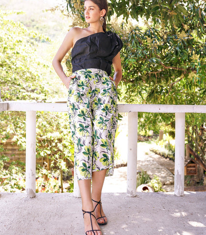 Pants - Luacano Floral Print Cropped Pants