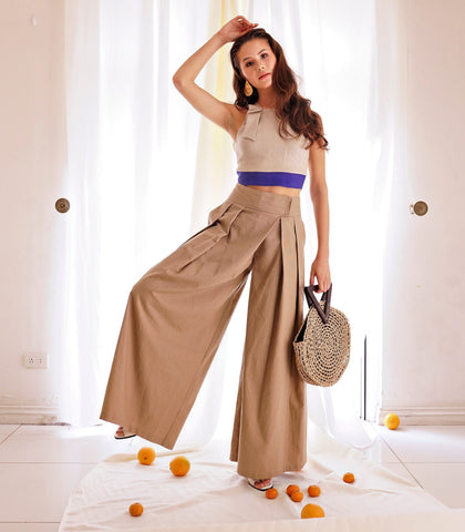 Pants - Petrosani Pleated Wide Leg Pants (Chestnut)