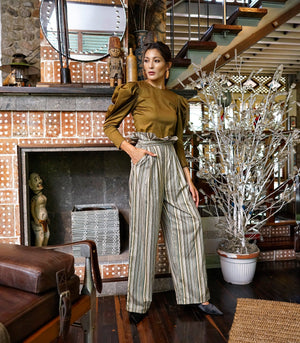 Polichni Striped Paper Bag Waist Pants