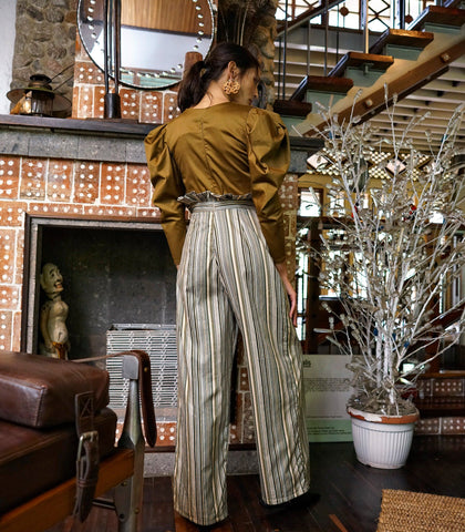 Pants - Polichni Striped Paper Bag Waist Pants