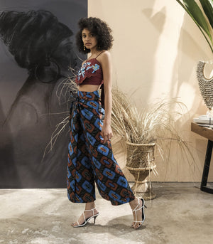 Pants - Rundu African Wax Print Wrap Pants (Blue/Green)