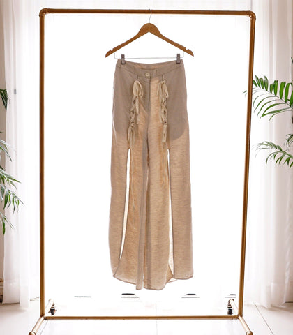 Pants - SAMPLE 505 | Beige Linen Wide Legged Pants With Slit