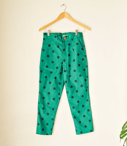 Pants - SAMPLE 591 |  Cropped Polka Pants (Green)