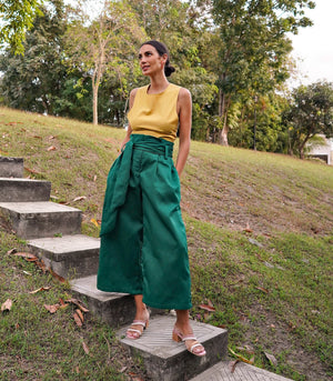Suzano Pleated High Waist Wide Leg Pants (Forest)