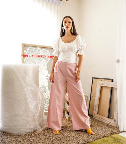 Pants - Sykies Wide Leg Pants With Side Pockets