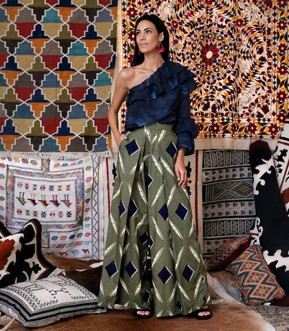 Pants - Tetouan Printed Wide-Leg Pants
