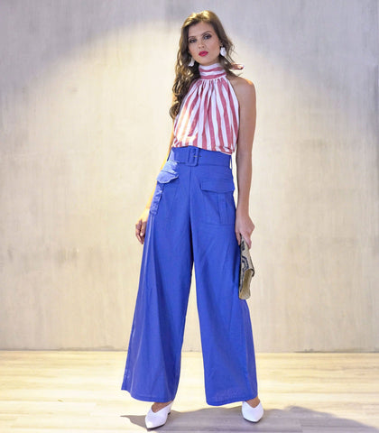 Pants - Valenca Belted High Waist Wide Leg Pants (Cobalt Blue)