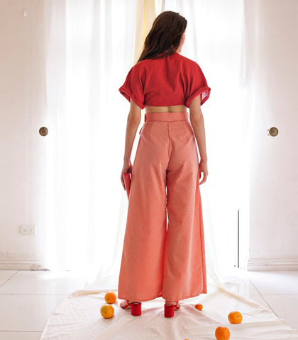 Pants - Valenca Belted High Waist Wide Leg Pants (Salmon)