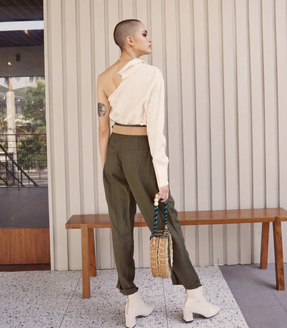 Pants - Vinto Pleat Front Linen Trousers (Olive)