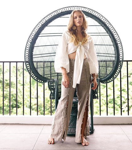 Zermatt Button Down Linen Pants (Taupe Pinstriped)