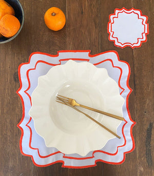 Bergamo Border Placemats and Coasters (Set of 6- Tangerine)
