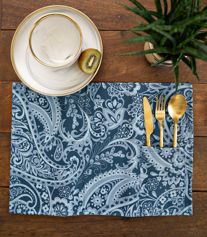 Placemats - Acil Cotton & Canvas Pocket Placemats - Set Of 6