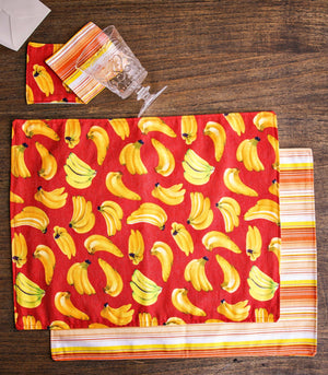 Placemats - Amalfi Reversible Fabric Placemats And Coasters- Set Of 4