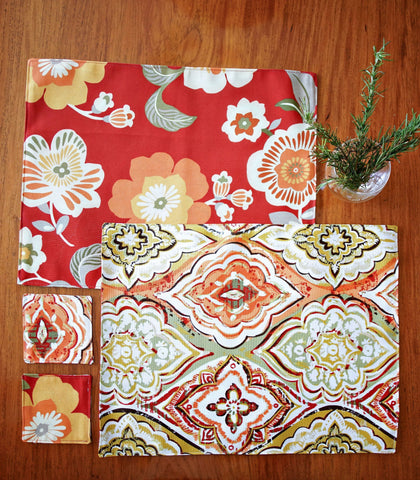 Placemats - Amalfi Two Reversible Placemats And Coasters - Set Of 4