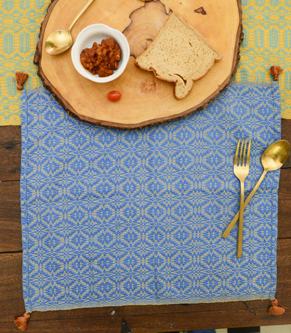 Placemats - Azrou Placemat Blue & Khaki ( Set Of 4 )