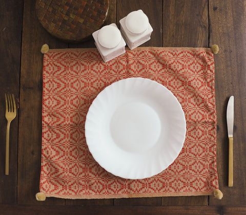 Placemats - Azrou Placemat Orange & Khaki  ( Set Of 4 )