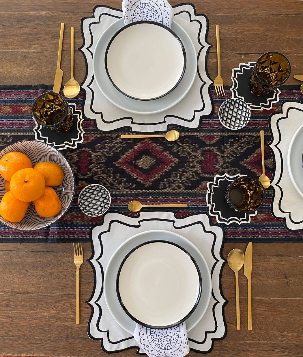 Bergamo Border Placemats and Coasters (Set of 6- Black)